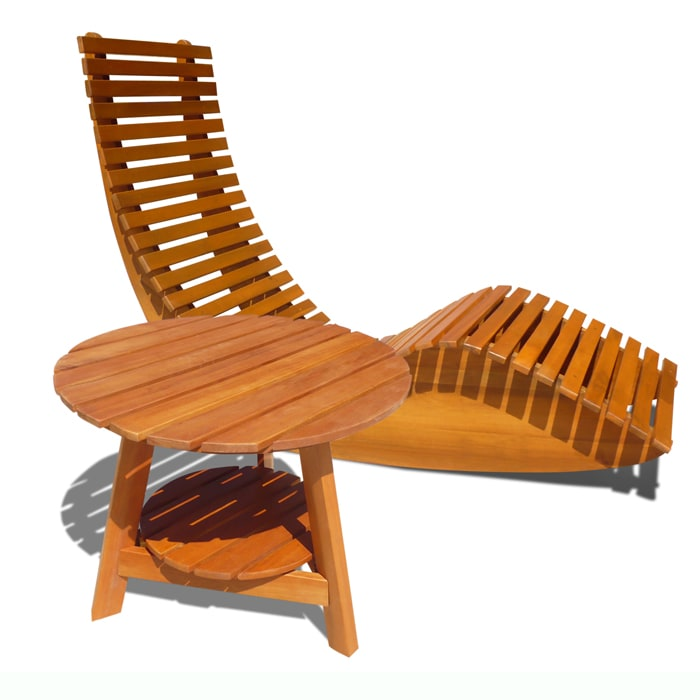 Casimir Wooden Outdoor Rocker Chair And Side Table Free