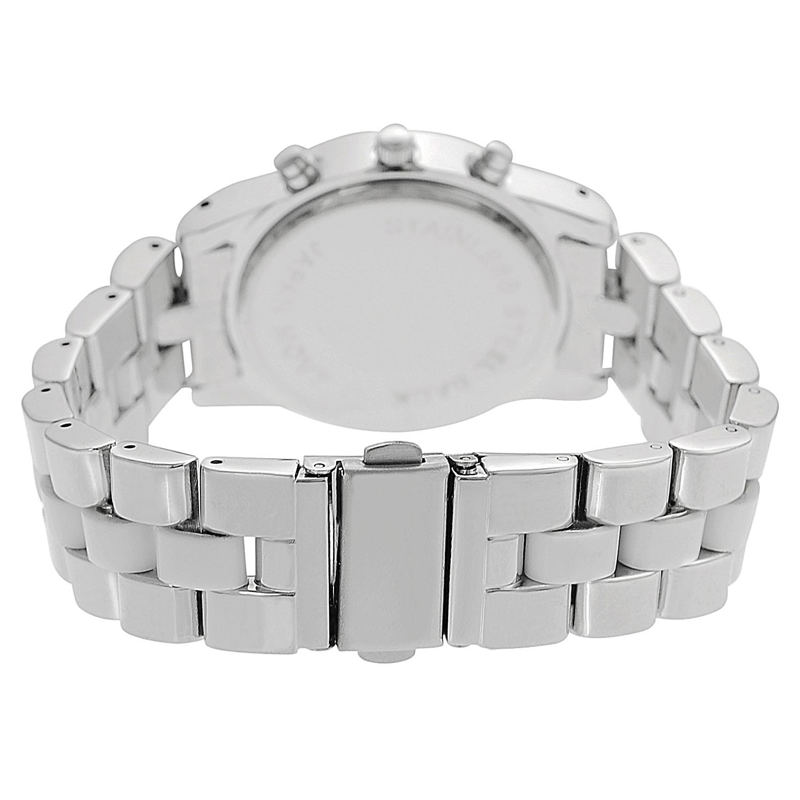 Geneva Platinum Women's Czech Rhinestone Chronograph-Style Link Watch