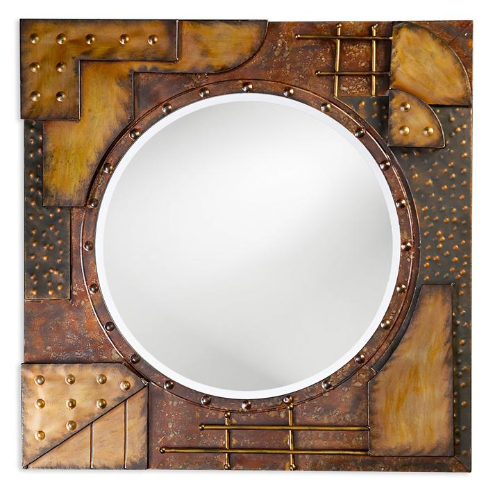 Abstract Metal Sculpture with Mirror