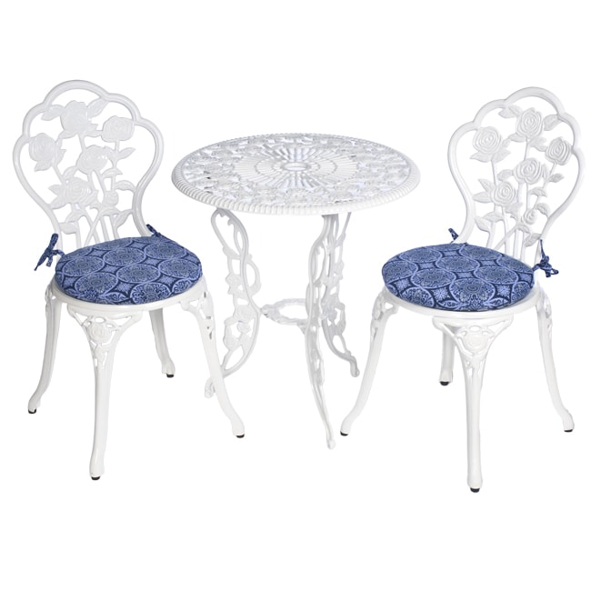 Bistro Outdoor Blue Tile Round Chair Cushions (Set of 2) - Thumbnail 0
