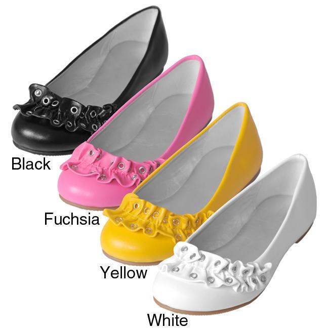 Journee Collection Girls' 'Paz-9' Ruffle Accent Ballet Flats