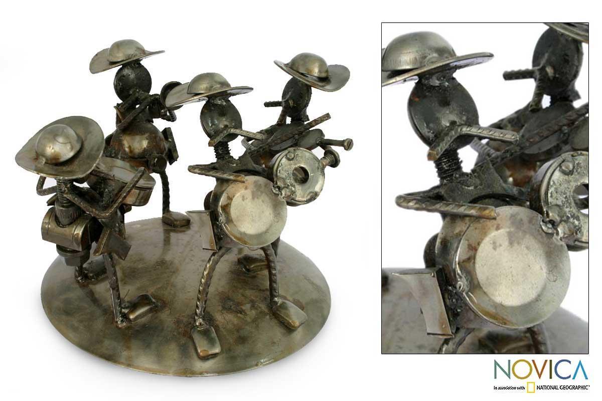 [Handmade] Recycled Metal 'Rustic Mariachi' Sculpture