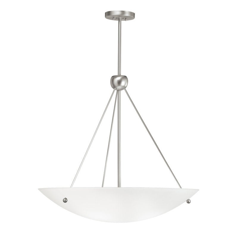 Brushed Nickel and Satin Etched Glass 6-light Pendant