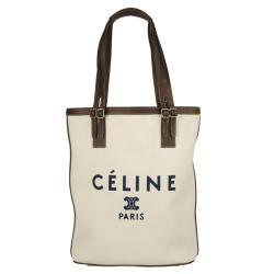 Celine Ivory Logo Canvas Tote Bag - Free Shipping Today ...
