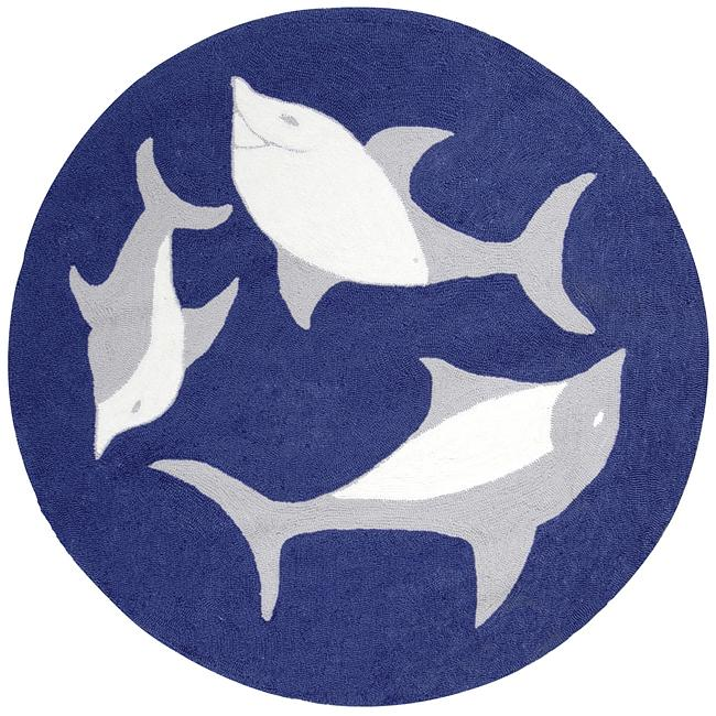 Shop Hand Hooked Dolphin Wool Rug 8 X8 Round Free