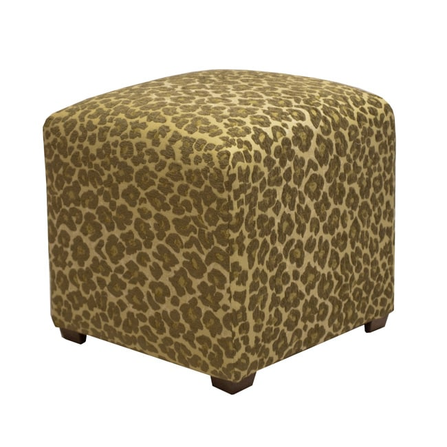 Tyler Sage Leopard Cube Ottoman Free Shipping Today