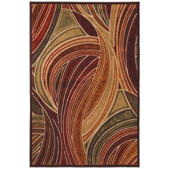 Red Abstract Rug (5'3 x 7'10)