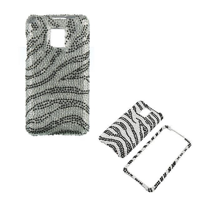 Premium LG G2X Silver Zebra Rhinestone Case