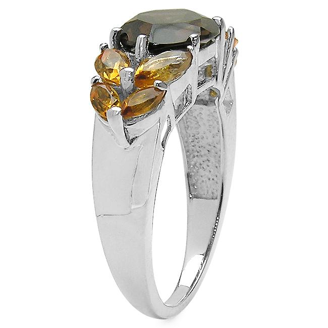 Malaika Sterling Silver Smoky Quartz and Citrine Ring