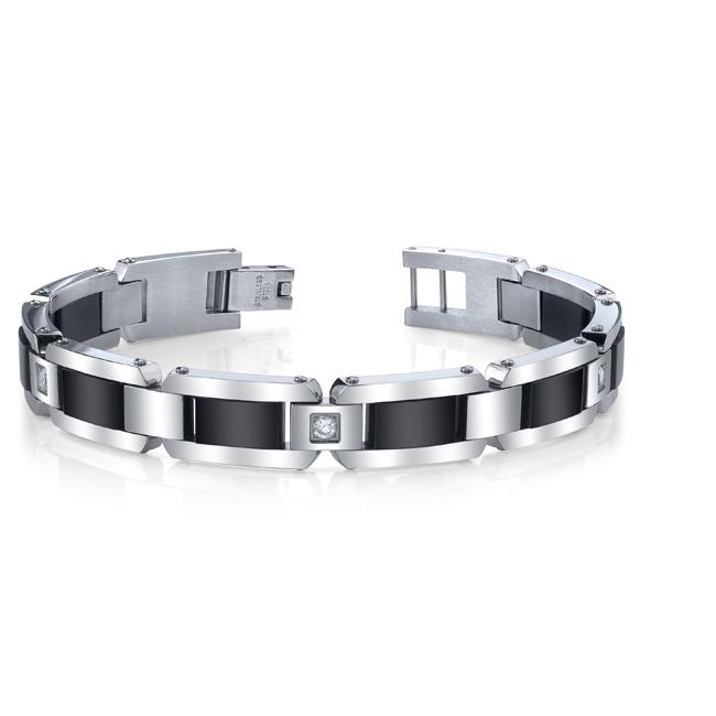 Stainless Steel and Black IP Men's Cubic Zirconia Bracelet - Thumbnail 0