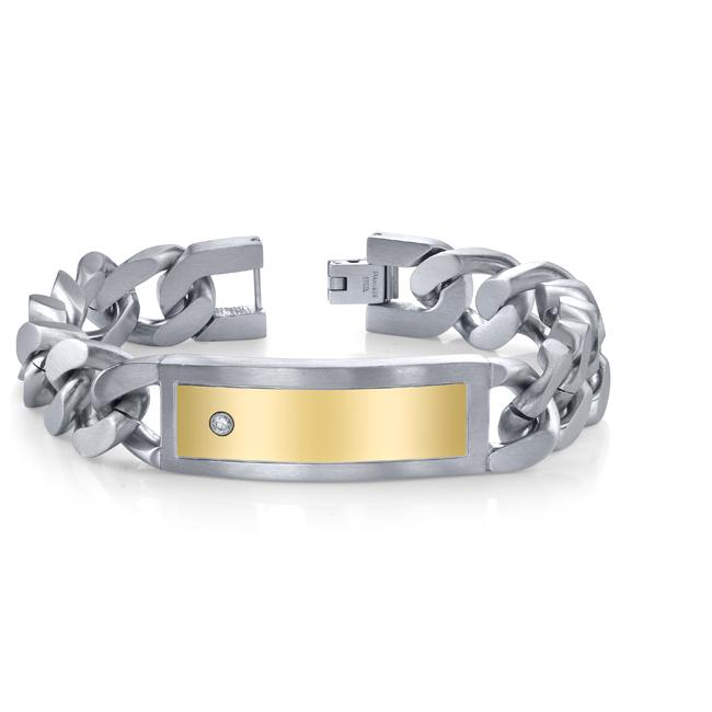 Stainless Steel Men's Gold Ion-plated 8.5-inch ID Bracelet