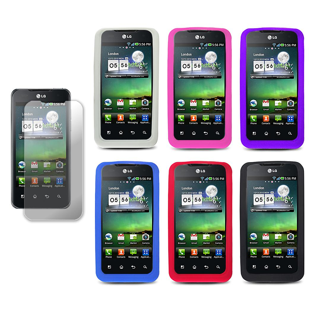 T-Mobile G2x/ LG Optimus 2X Silicone Case with Screen Protector - Thumbnail 1