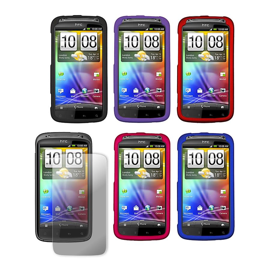 Premium HTC Sensation 4G Rubberized Hard Case with Screen Protector