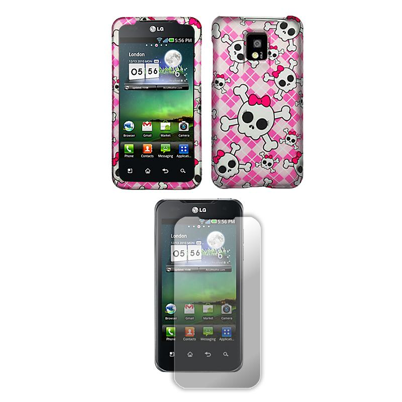 T-Mobile G2x/ LG Optimus 2X Pink Skull Protector Case with Screen Protector - Thumbnail 1