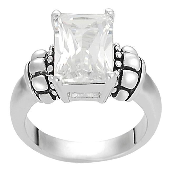 Journee Collection Silvertone Basket-set Emerald-cut CZ Ring