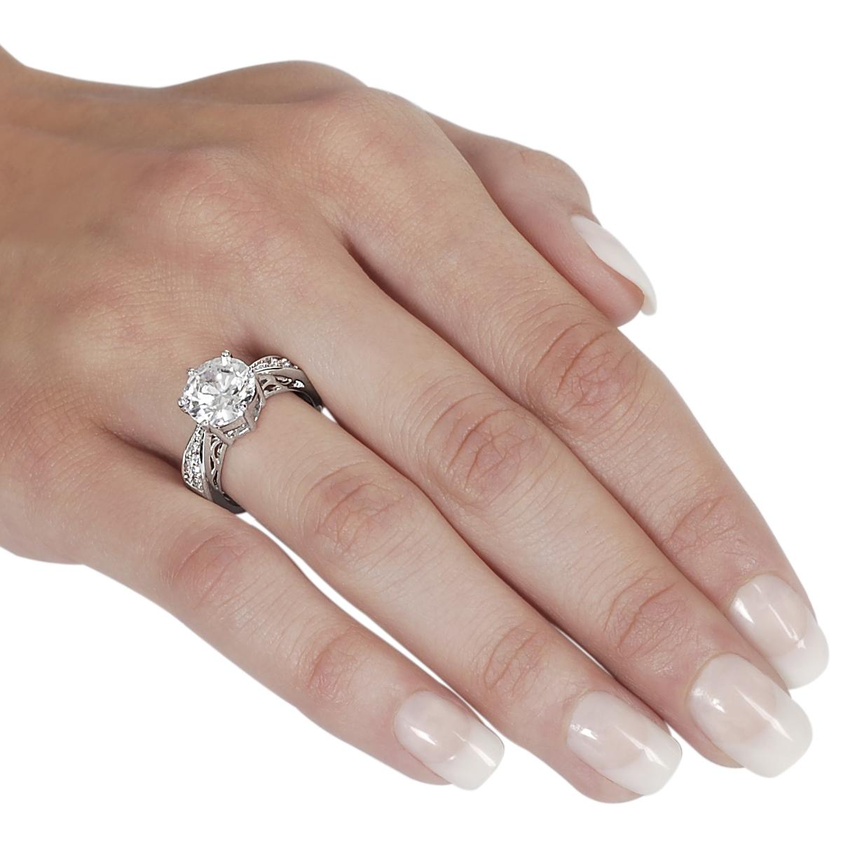 Journee Collection Silvertone Basket and Pave-set Round CZ Ring