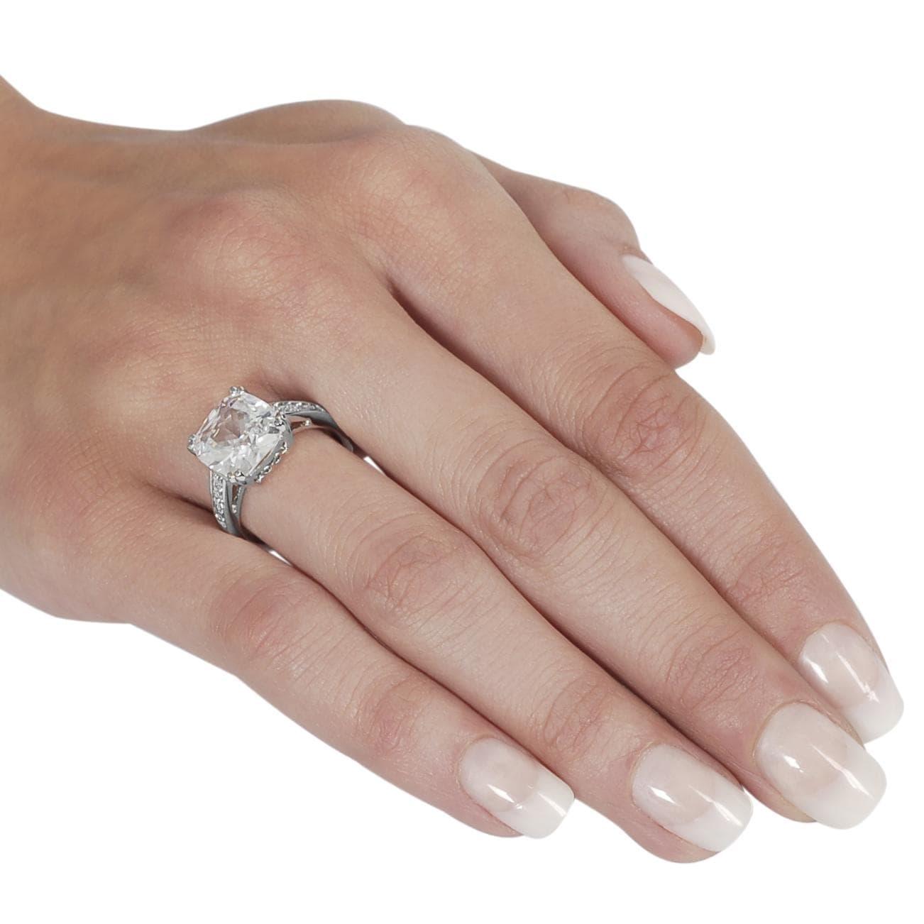 Journee Collection Silvertone Cushion-cut Cubic Zirconia Ring - Thumbnail 2