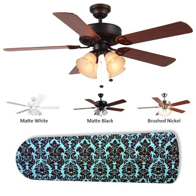 New Image Concepts 4-Lamp Aqua/Brown Damask Ceiling Fan
