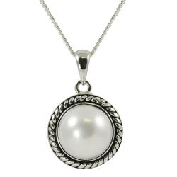 Pearls for You Sterling Silver White Freshwater Pearl Necklace (9.5-10 mm)