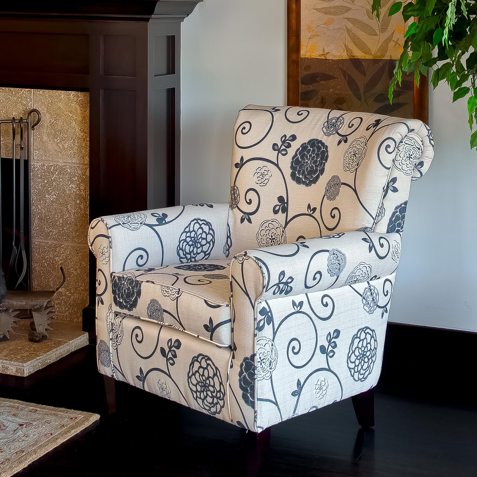 Floral Grey Accent Club Chair Free Shipping Today