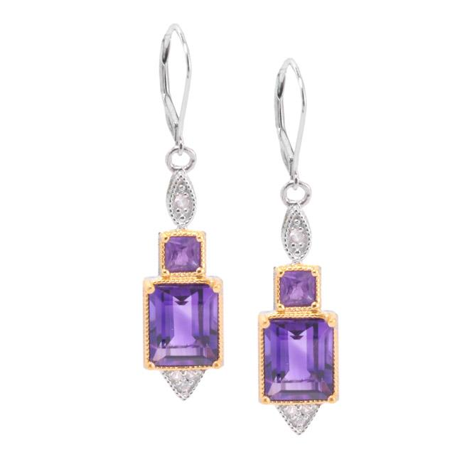 Michael Valitutti Two-tone African Amethyst and White Sapphire Earrings