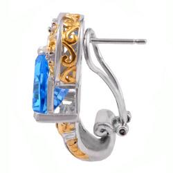 Michael Valitutti Two-tone Swiss Blue Topaz and White Sapphire Earrings - Thumbnail 1