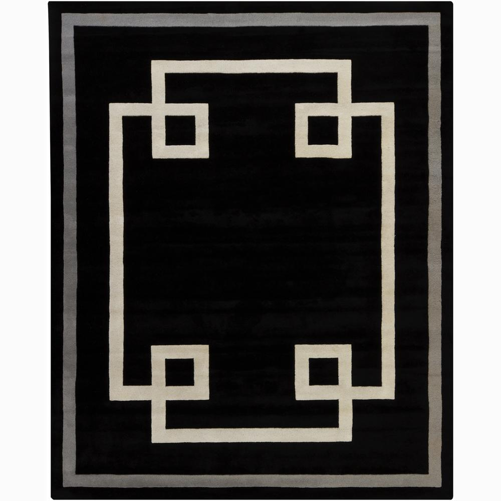Hand-tufted Mandara Geometric Black Wool Rug (8' x 10')
