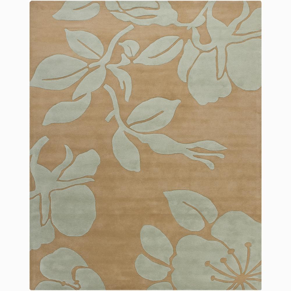 Hand-tufted Mandara Blue Floral Wool Rug (6' x 9')