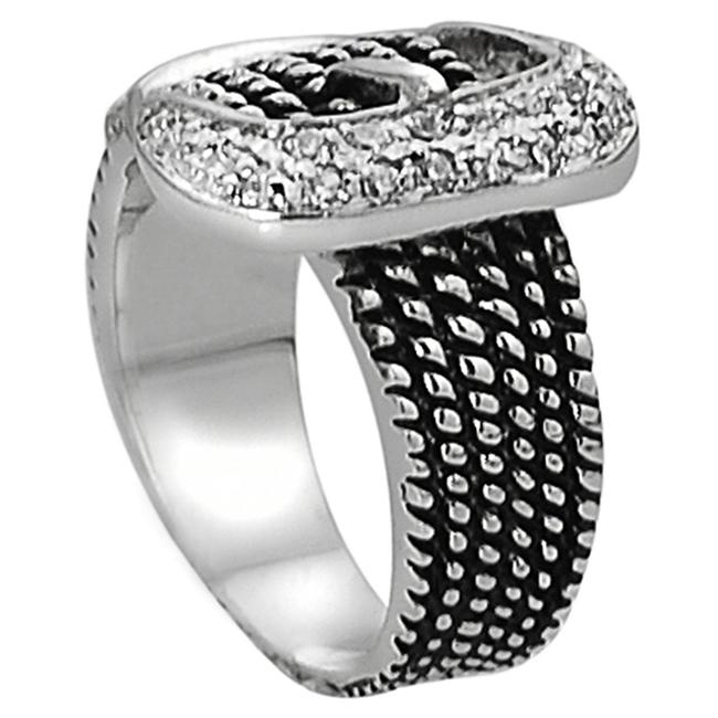 Journee Collection Silvertone Pave-set CZ Rope Detail Buckle Ring - Thumbnail 1