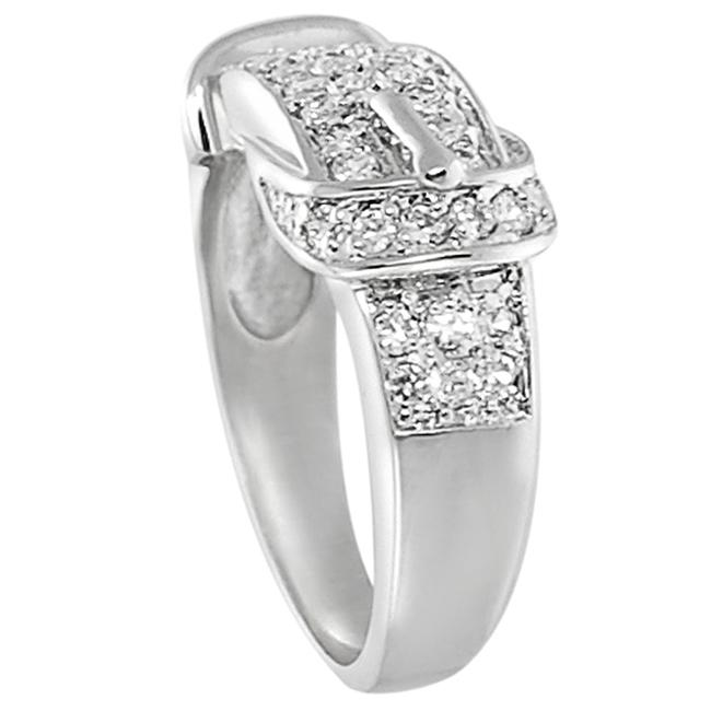 Silvertone Pave-set Cubic Zirconia Buckle Ring