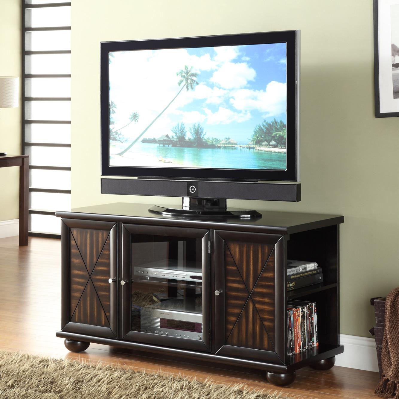 Paulo Poplar Wood Walnut Finish TV Console