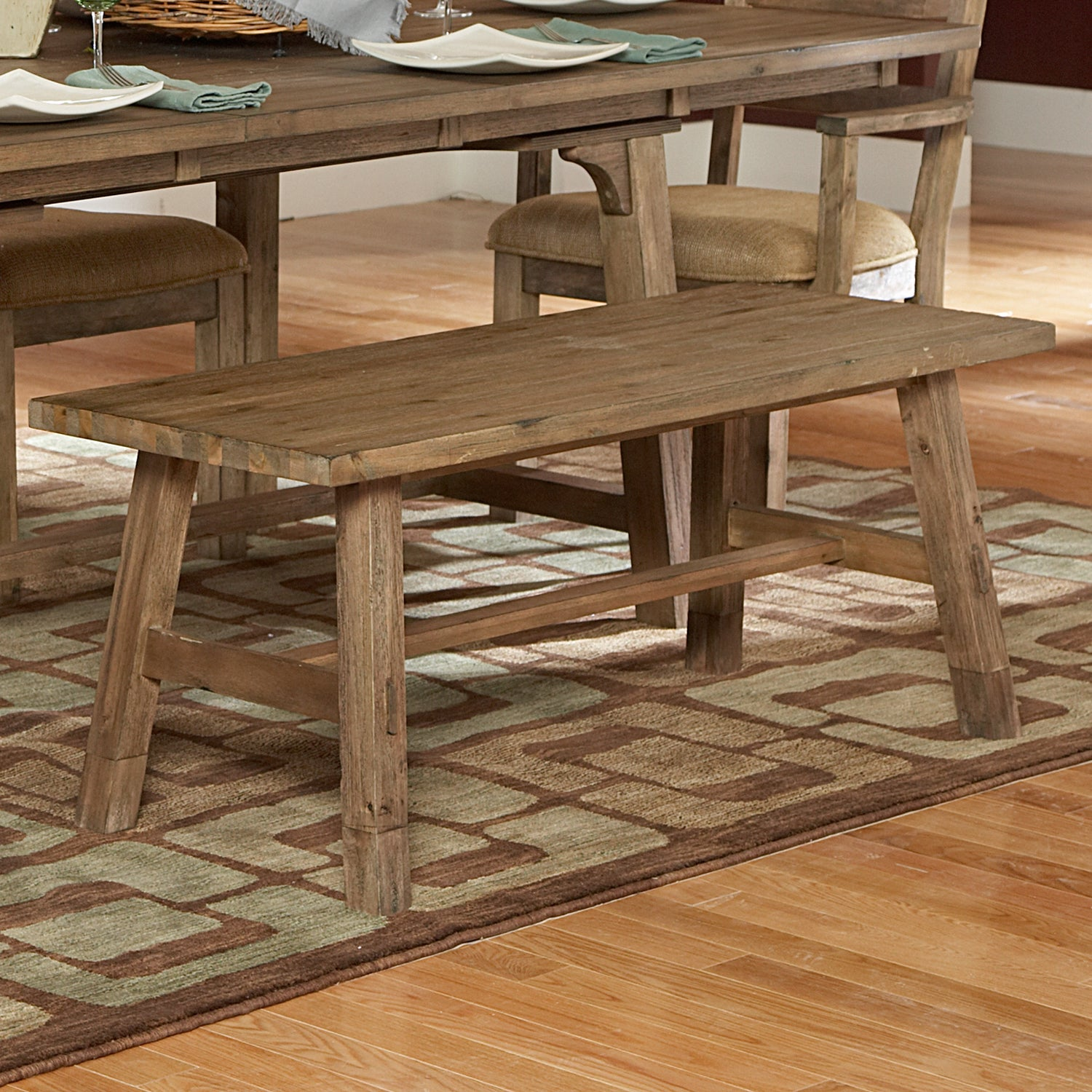 Nat Driftwood Acacia Wood Country 48-inch Dining Bench