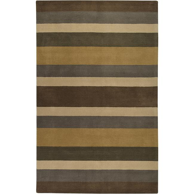Hand-crafted Multi Colored Stripe Wool Rug (5' x 8')