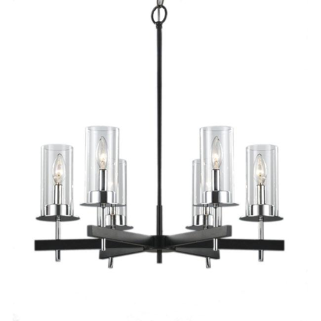 black and chrome light clear glass contemporary chandelier, Lighting ideas