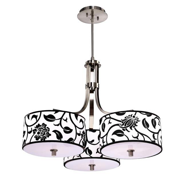Modern Chrome Chandelier with Three Floral Shades