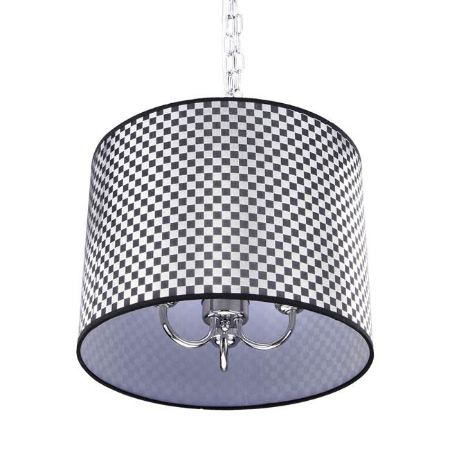 Black and Silver Checkered Shade 3-light Chrome Chandelier - Thumbnail 0