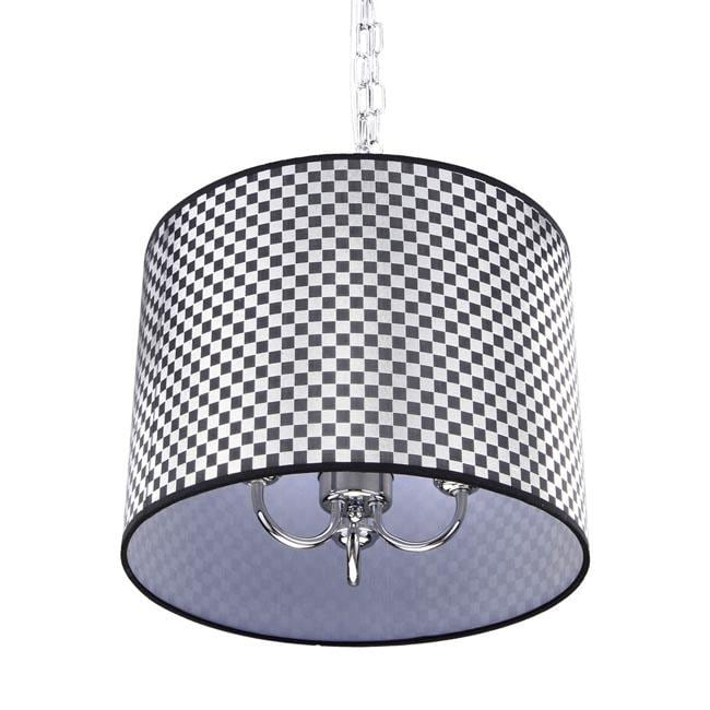 Black and Silver Checkered Shade 3-light Chrome Chandelier