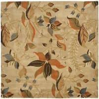 Safavieh Handmade Blossom Paradise Beige Wool Rug - 6' x 6' Square