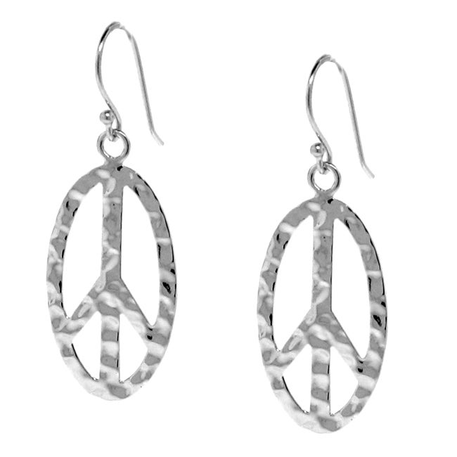 Sterling Silver Hammered Peace Sign Earrings