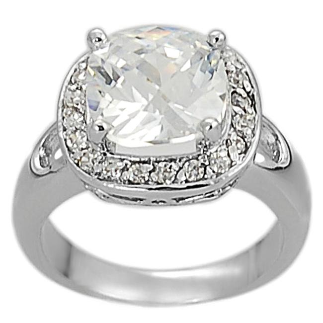Journee Collection Silvertone Pave-set and Cushion-cut CZ Ring