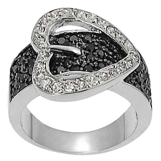 Silvertone Pave-set Black and White Cubic Zirconia Heart Buckle Ring