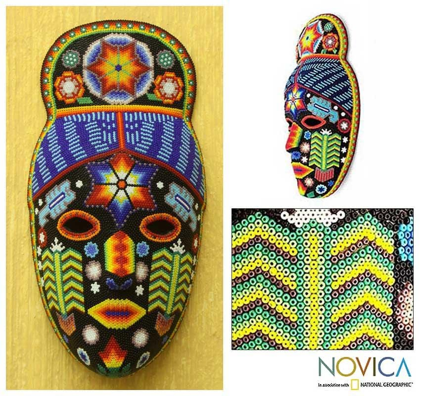 Glass-beaded 'Teruka-warra' Paper Mache Mask (Mexico)