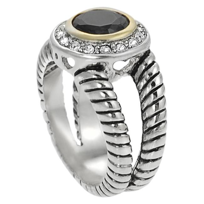 Journee Collection Two-tone Black and White CZ Twist Ring - Thumbnail 1