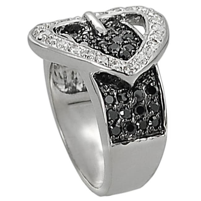 Silvertone Pave-set Black and White Cubic Zirconia Heart Buckle Ring - Thumbnail 1
