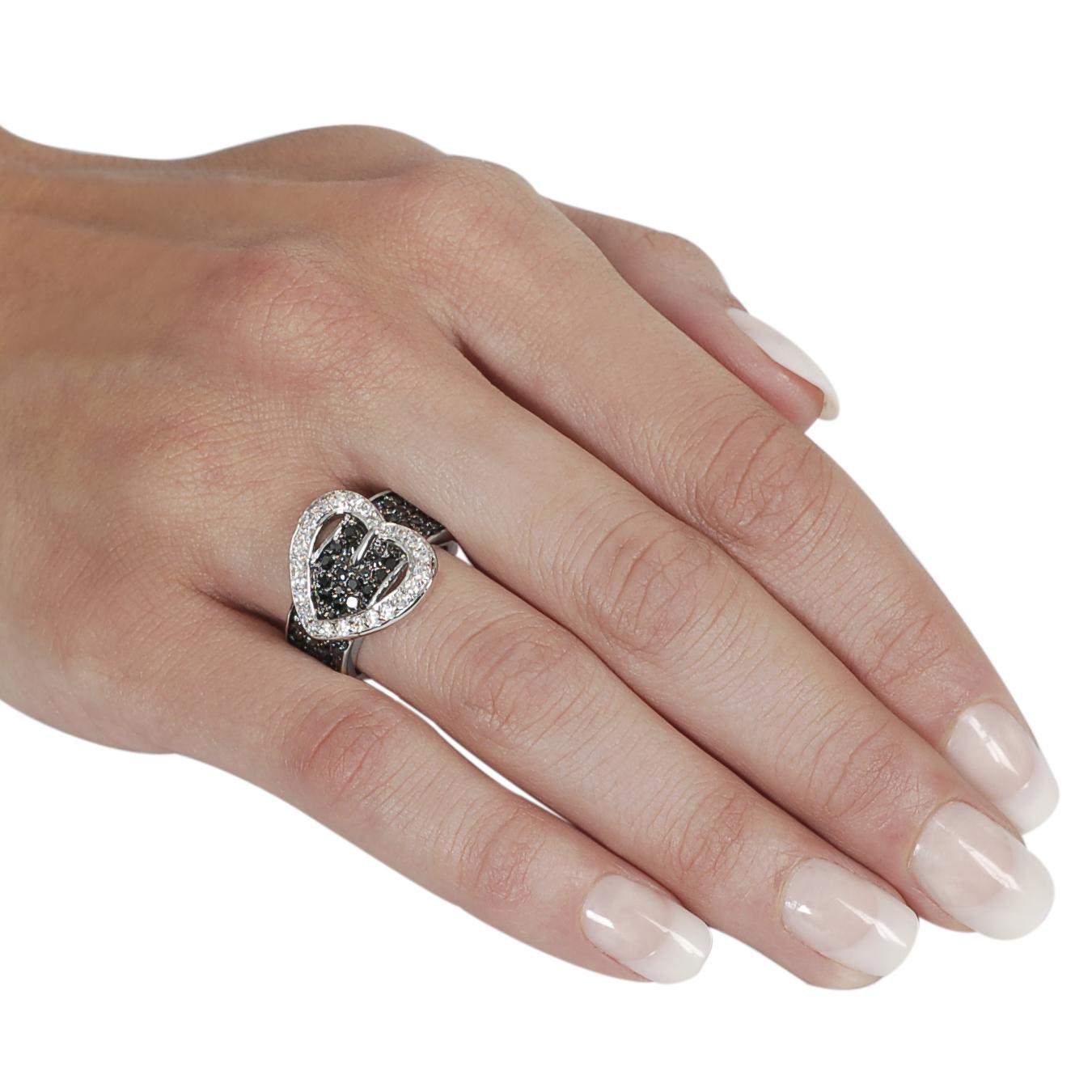 Silvertone Pave-set Black and White Cubic Zirconia Heart Buckle Ring - Thumbnail 2