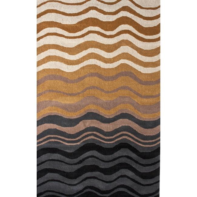 nuLOOM Handmade Moda Waves New Zealand Wool Rug (5' x 8')
