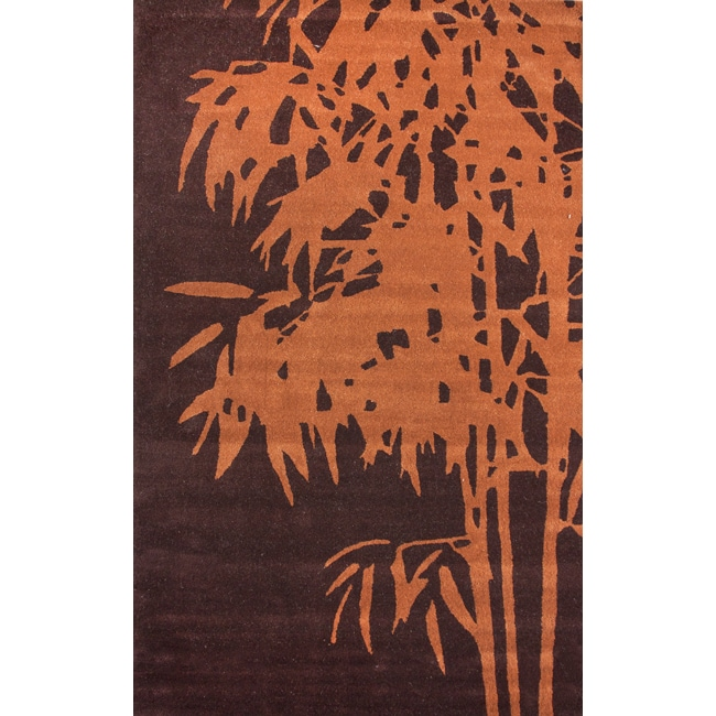 nuLOOM Handmade Moda Palm Tree New Zealand Wool Rug (7'6 x 9'6)