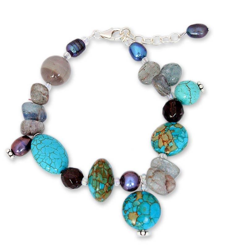 Sterling Silver 'Sky Goddess' Pearl and Gems Bracelet (6 mm) (Thailand)