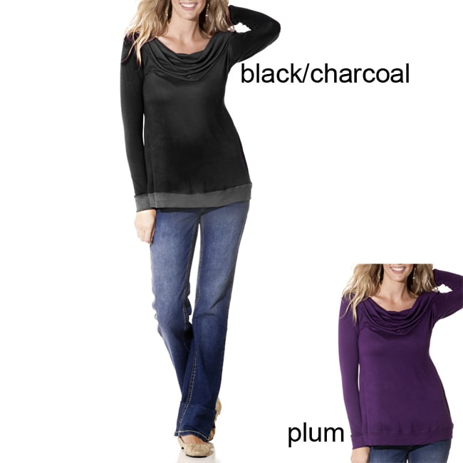 Lilac Clothing Women's Maternity Cowlneck Long-sleeve Tunic Top