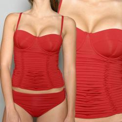 Jantzen Women's Red 2-piece Underwire Pleated Tankini Swimsuit